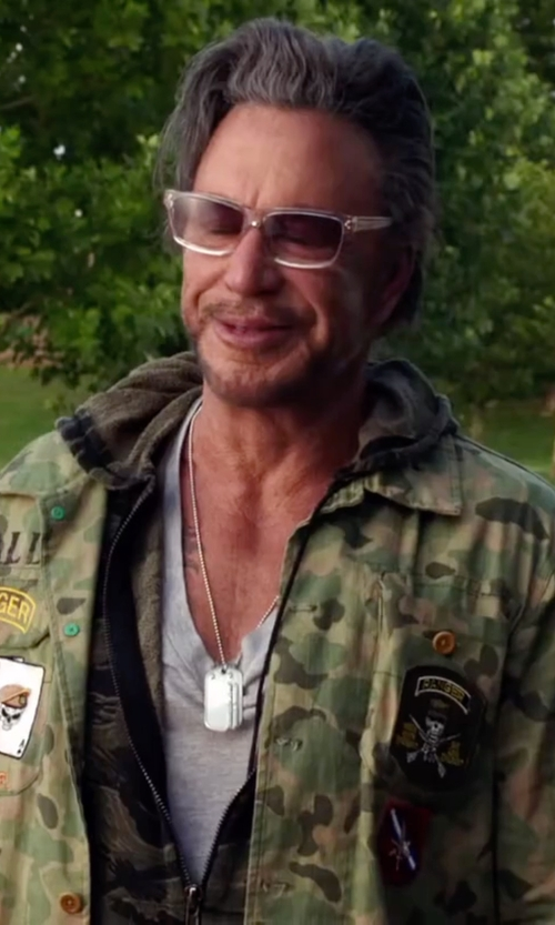 Mickey Rourke with Polo Ralph Lauren Camo Military Jacket in Ashby