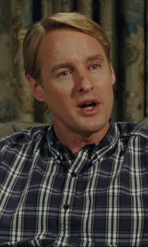 Owen Wilson with The North Face Short Sleeve Pine Knot Woven Flannel Shirt Storm Blue in Hall Pass