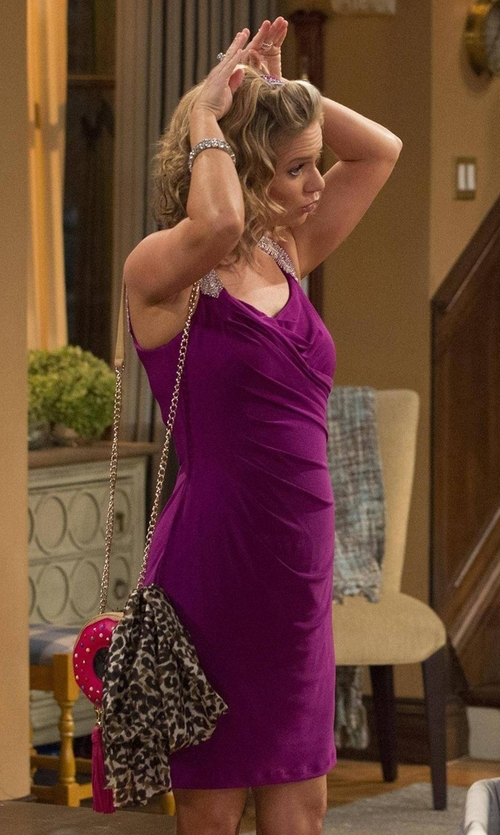 Andrea Barber with Lauren Ralph Lauren Embellished Straps Jersey Sheath Dress in Fuller House