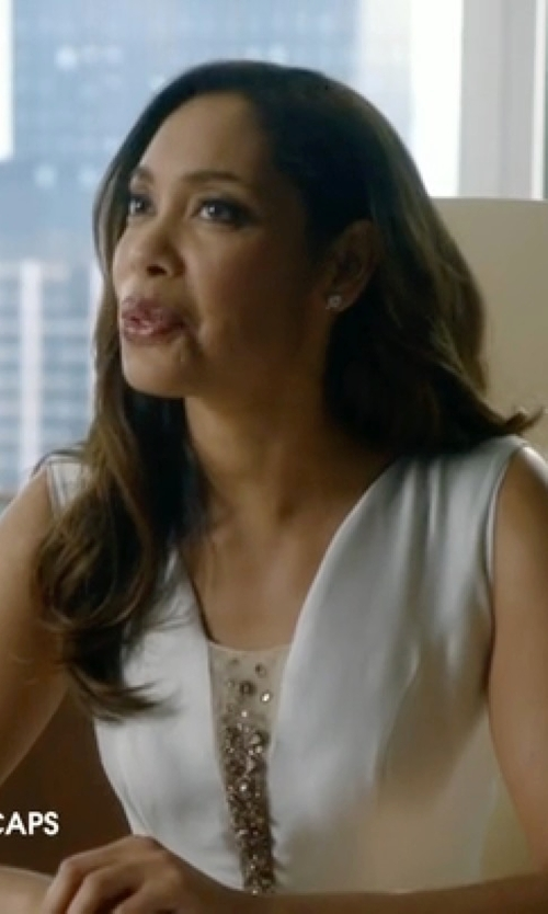 Gina Torres with Lord & Taylor Freshwater Pearl Earrings with Diamond Accent in Suits