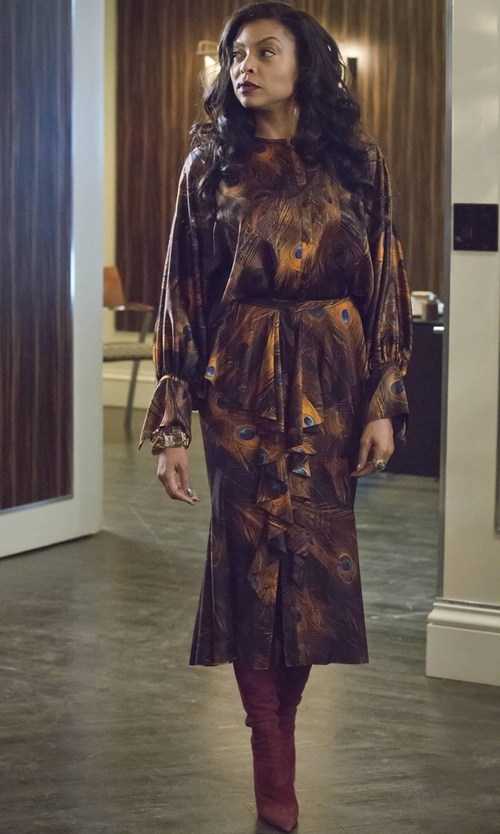 Taraji P. Henson with Givenchy Peacock Feather Print Blouse in Empire