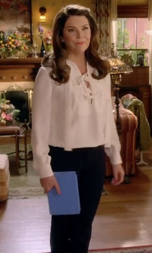 Lauren Graham with Derek Lam Lace Up Blouse in Gilmore Girls: A Year in the Life