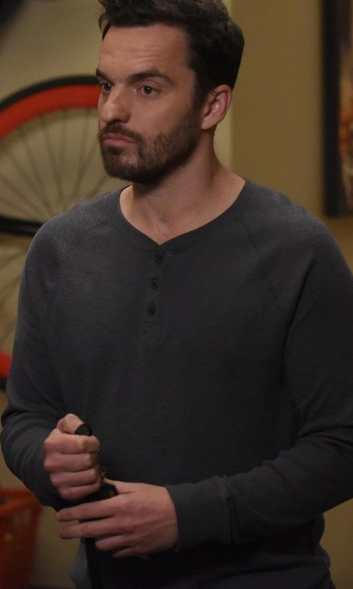 Jake Johnson with Michael Kors Merino Wool Waffle-Knit Henley Shirt in New Girl