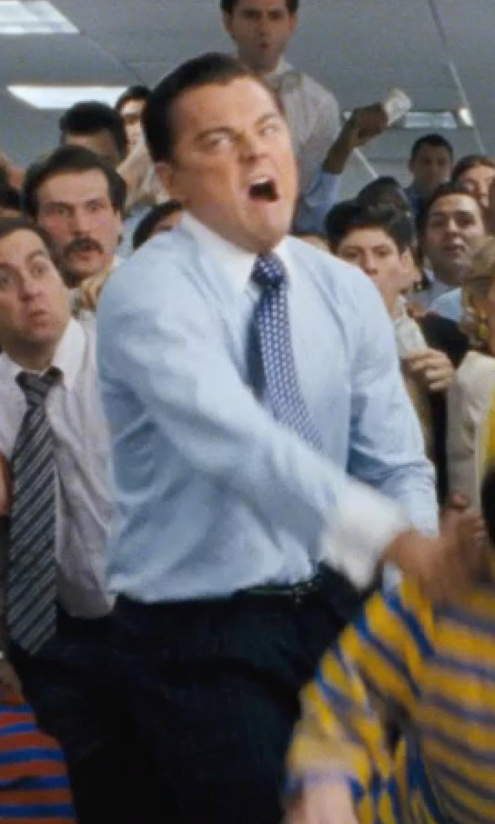 Leonardo DiCaprio with MICHAEL BASTIAN Striped Contrast Collar Dress Shirt in The Wolf of Wall Street