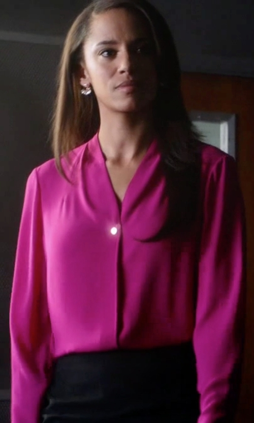 Naomi Ryan with Elie Tahari Willow Pleated-Front Silk Blouse in Guilt