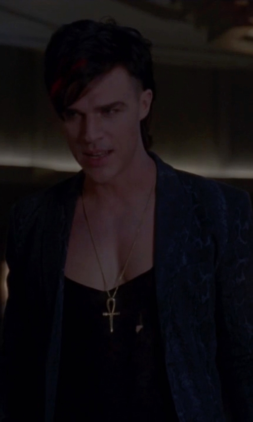Finn Wittrock with Etro Floral Print Denim Blazer in American Horror Story