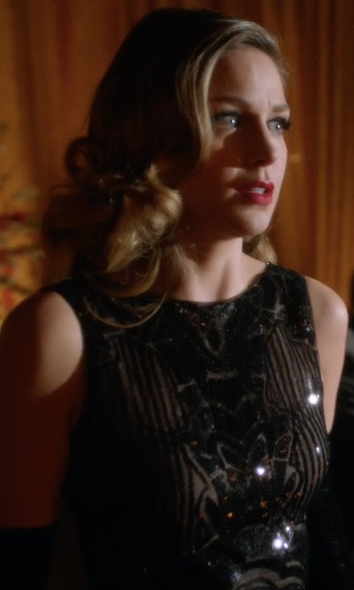 Melissa Benoist with BCBGMaxazria Magdalena Sequined Gown in Supergirl