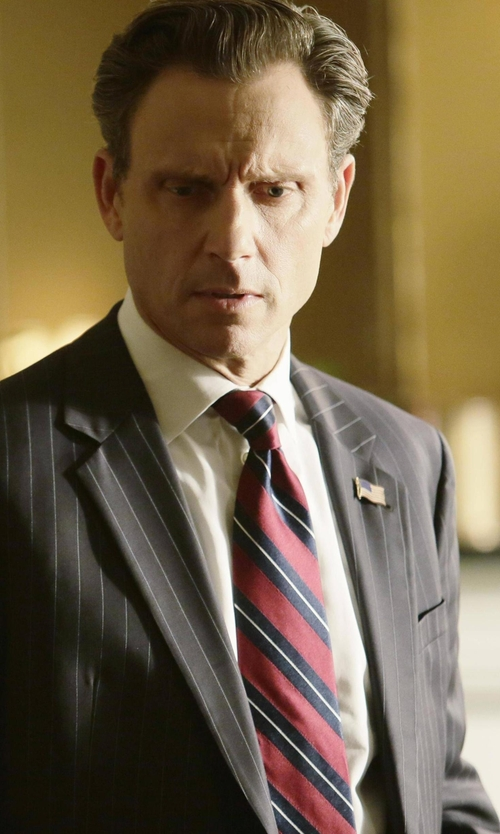 Tony Goldwyn with Gucci Striped Silk Wool Tie With G Detail in Scandal