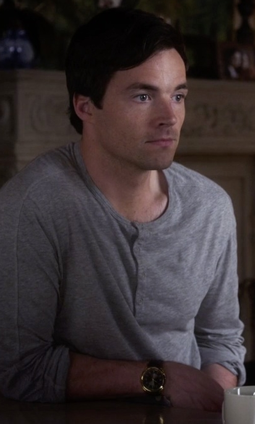 Ian Harding with Coach Bleecker Chrono Mahogany Leather Strap Watch in Pretty Little Liars
