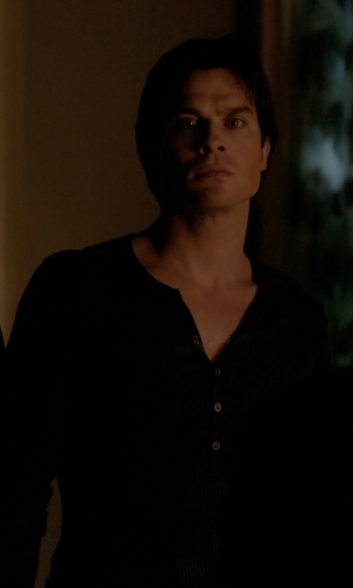 Ian Somerhalder with Howe Tokyo Long Sleeve Knit Henley in The Vampire Diaries