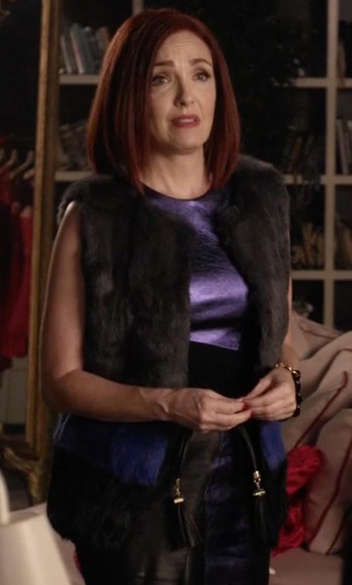 Amy Yasbeck with Jocelyn  Long Hair Rabbit Fur Colorblocked Vest in Pretty Little Liars