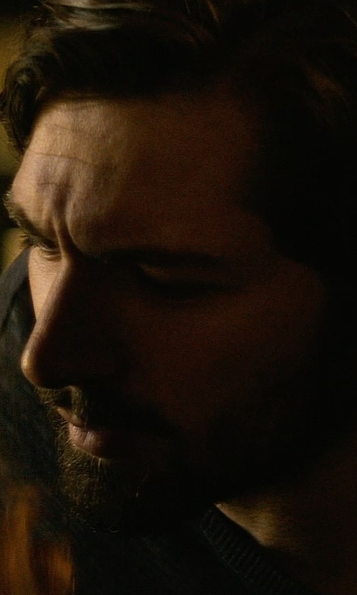 Michiel Huisman with John Varvatos Star U.S.A. Leather Elbow-patch Sweater in The Age of Adaline