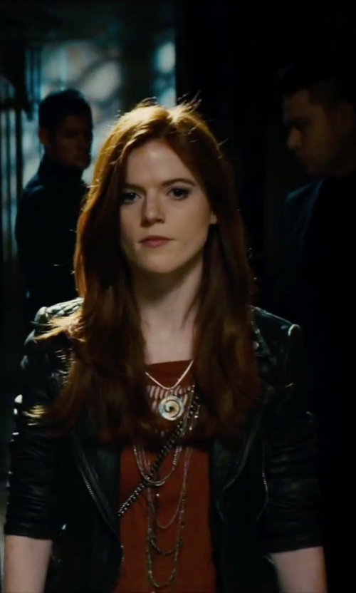 Rose Leslie with Tory Burch Multistrand Logo Station Necklace in The Last Witch Hunter