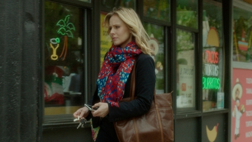 Kristen Bell with Mixit Floral Ruched Infinity Scarf in The Boss