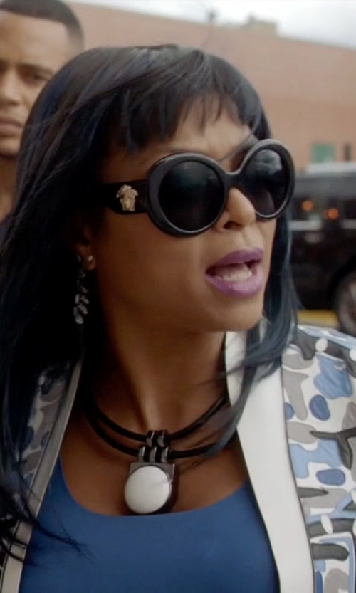 Taraji P. Henson with Versace Black #PopMedusa Sunglasses in Empire