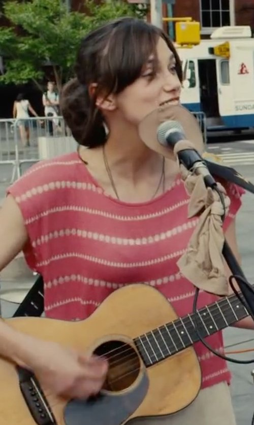 Keira Knightley with Three Dots Scoop Neck Striped Tee in Begin Again