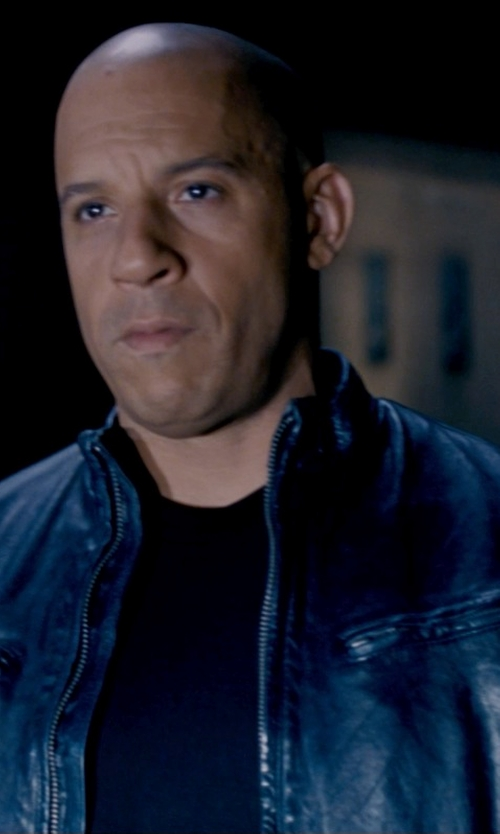 Vin Diesel with Dockers Leather Motorcycle Racer Jacket in Fast & Furious 6