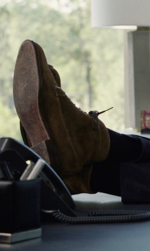 Damian Lewis with Red Wing Shoes Iron Ranger Boots in Billions