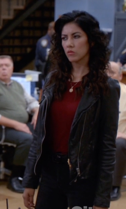 Stephanie Beatriz with Helmut Lang Patina Leather Jacket in Brooklyn Nine-Nine