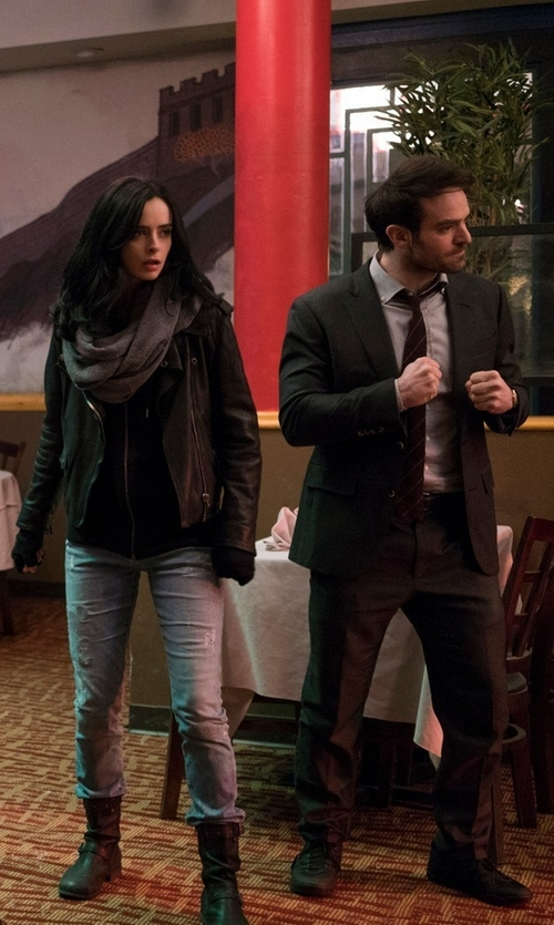 Charlie Cox with Ted Baker London Jay Trim Fit Solid Wool Suit in Marvel's The Defenders