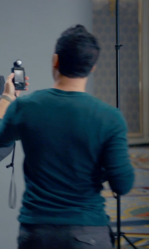 Victor Rasuk with Roberto Collina Crew Neck Fitted Sweater in Fifty Shades of Grey