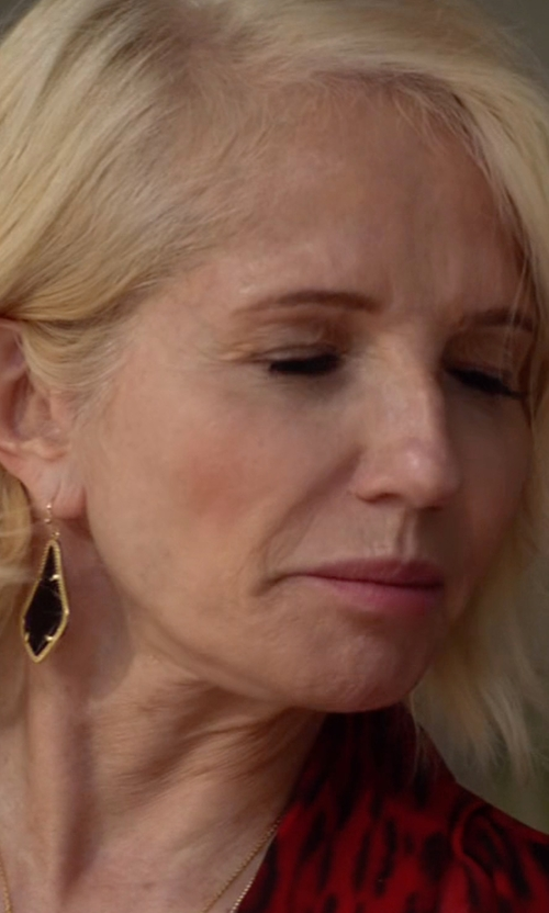 Ellen Barkin with Kendra Scott Alex Earrings in Animal Kingdom