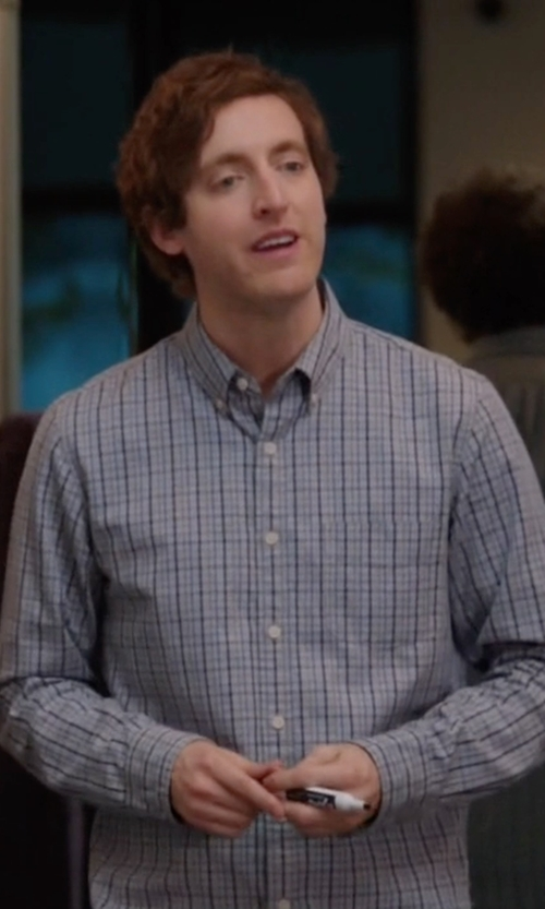 Thomas Middleditch with Michael Michael Kors Helio Purple Multi Check Dress Shirt in Silicon Valley