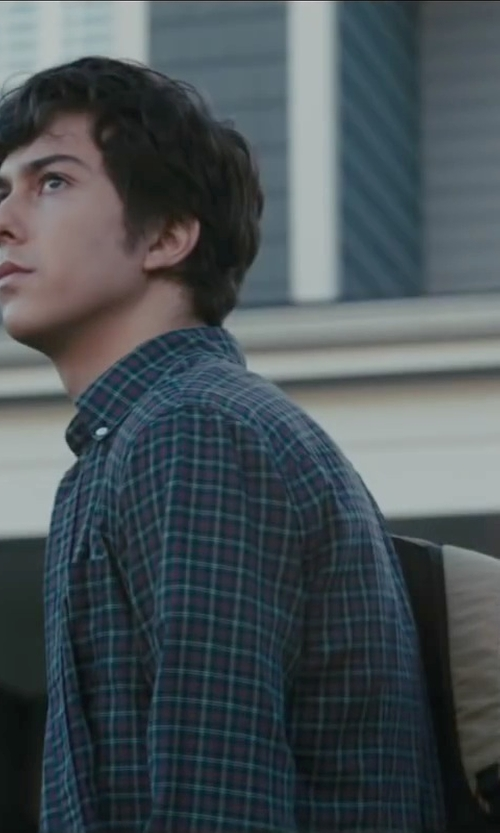 Nat Wolff with Burberry Brit Slim-Fit Checked Cotton Shirt in Paper Towns