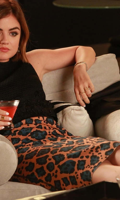 Lucy Hale with Topshop Leopard Print Tube Skirt in Pretty Little Liars