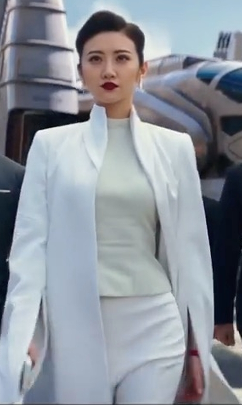 Tian Jing with Karen Kane Piper Skinny Ankle Pants in Pacific Rim: Uprising