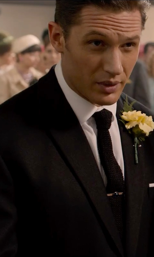 Tom Hardy with Yves Saint Laurent Black Super 120's Wool Single Button Tuxedo With Flat Front Pants in Legend