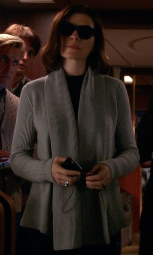 Julianna Margulies with Phase Eight Lili Longline Cardigan in The Good Wife
