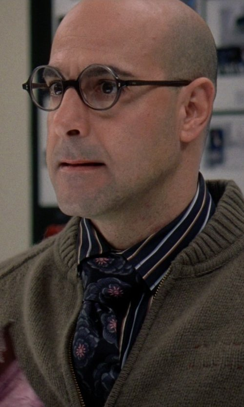 Stanley Tucci with English Laundry Striped Long-Sleeve Dress Shirt in The Devil Wears Prada