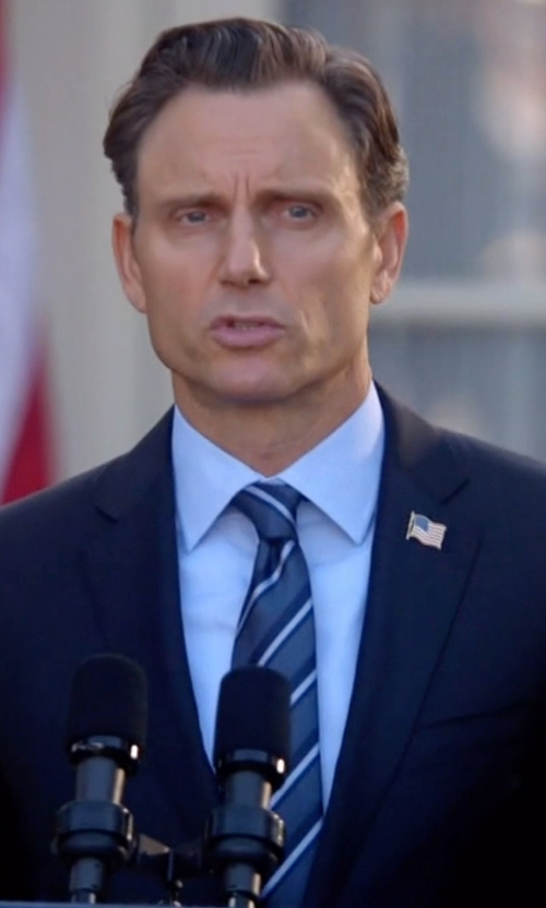 Tony Goldwyn with John Ashford Traditional Stripe Tie in Scandal