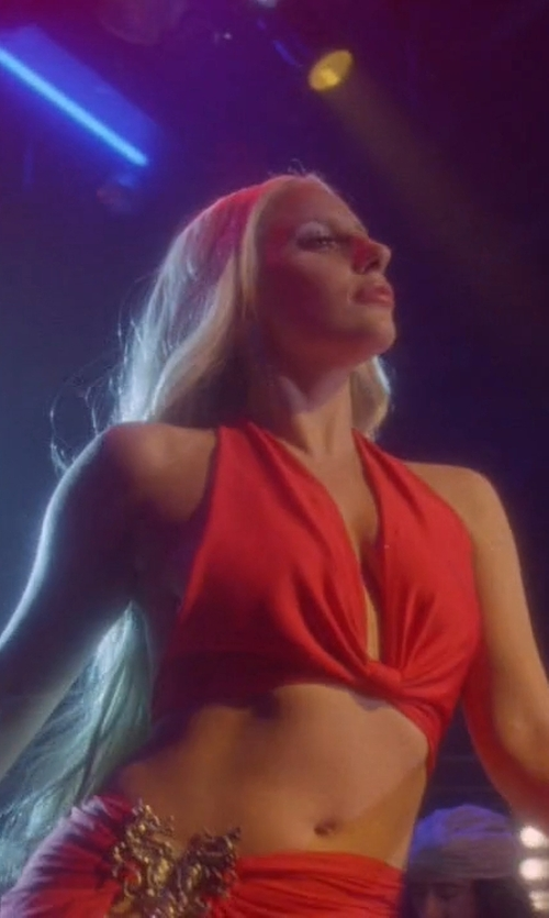 Lady Gaga with Nasty Gal Halter Top in American Horror Story
