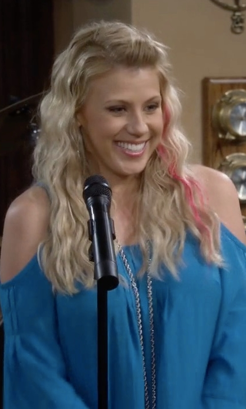Jodie Sweetin with Nanette Lepore Sultry Cold-Shoulder Top in Fuller House