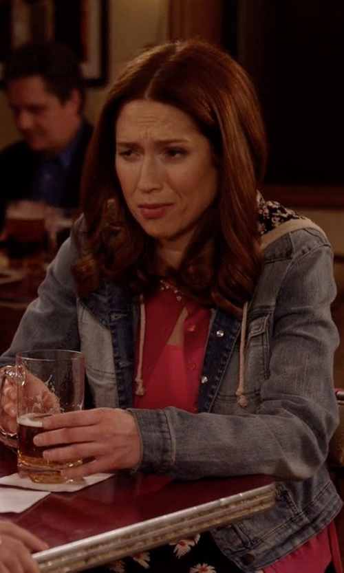 Ellie Kemper with Vintage Havana Shearling Lined Hoody Jacket in Unbreakable Kimmy Schmidt
