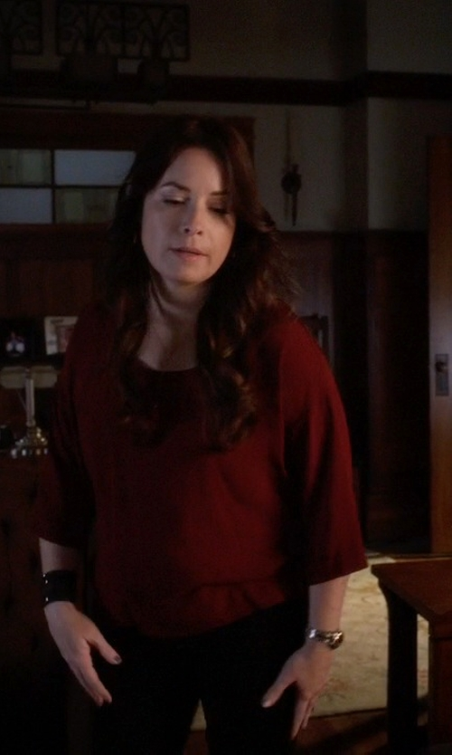 Holly Marie Combs with Valette 3/4 Sleeve Strappy V-Back Blouse in Pretty Little Liars