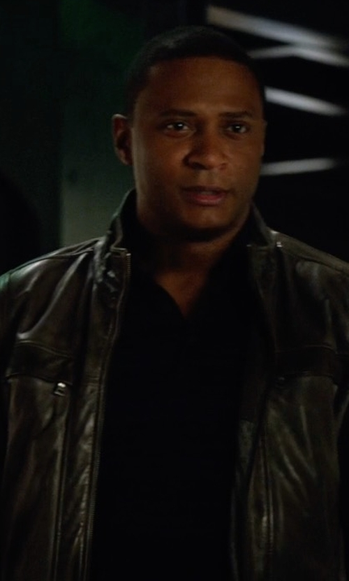 David Ramsey with Darnier Warner Lamb Leather Bomber Jacket in Arrow