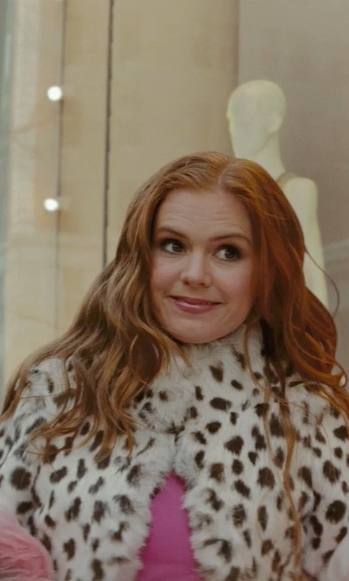 Isla Fisher with Jocelyn Knit Rabbit Fur Shrug in Confessions of a Shopaholic