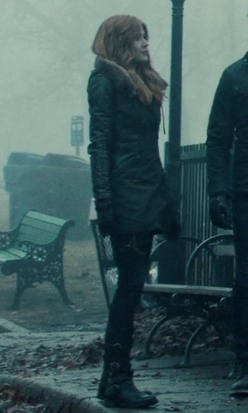 Katherine McNamara with Frye Veronica Back Zip Short Boots in Shadowhunters