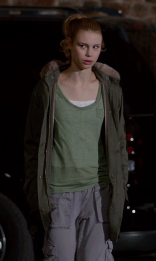 Lucy Fry with Sheinside Army Green Faux Fur Hooded Drawstring Slim Coat in Vampire Academy