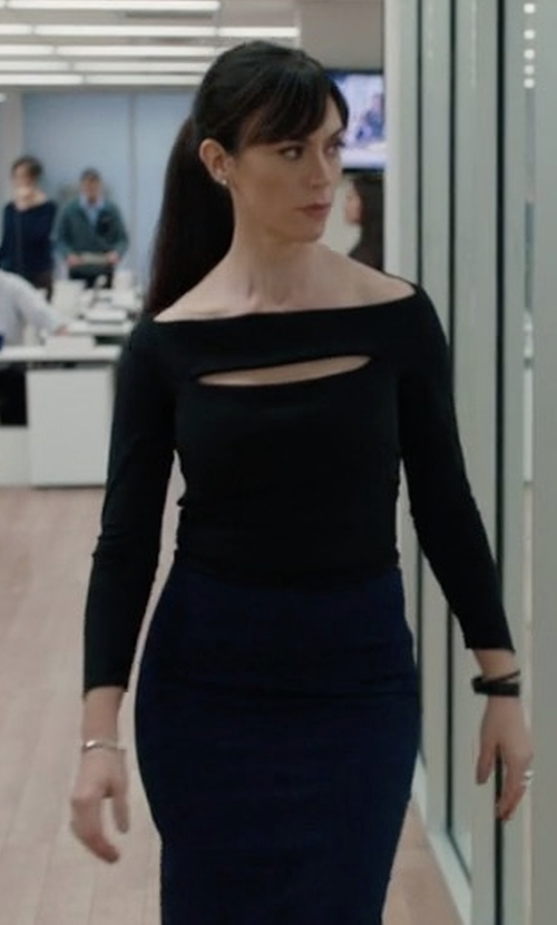 Maggie Siff with Proenza Schouler Circle Cutout Top in Billions