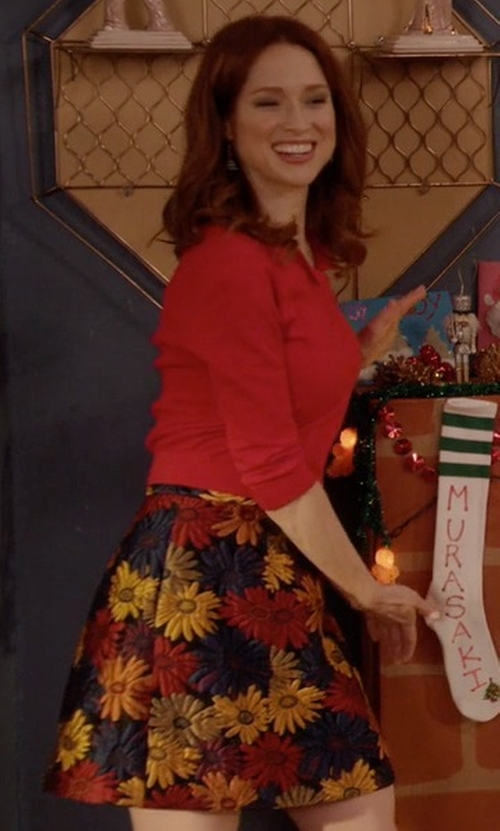 Ellie Kemper with Alice + Olivia Loran Jacquard Skirt in Unbreakable Kimmy Schmidt