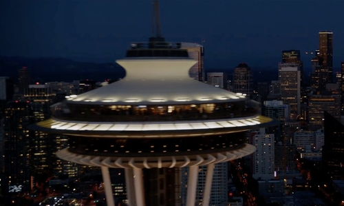 Unknown Actor with Space Needle Seattle, Washington in Fifty Shades Darker
