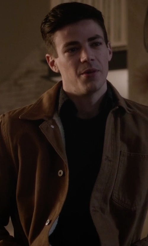 Grant Gustin with Topman Faux Shearling Lined Shacket in The Flash