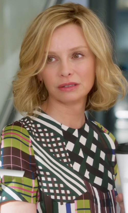 Calista Flockhart with Marni 'Skyline' Printed Top in Supergirl