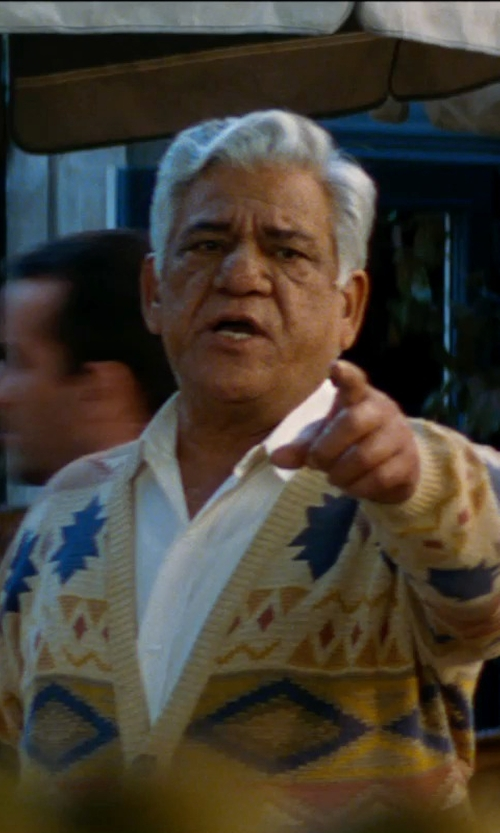 Om Puri with Polo Ralph Lauren Tonal-Pattern Cardigan in The Hundred-Foot Journey