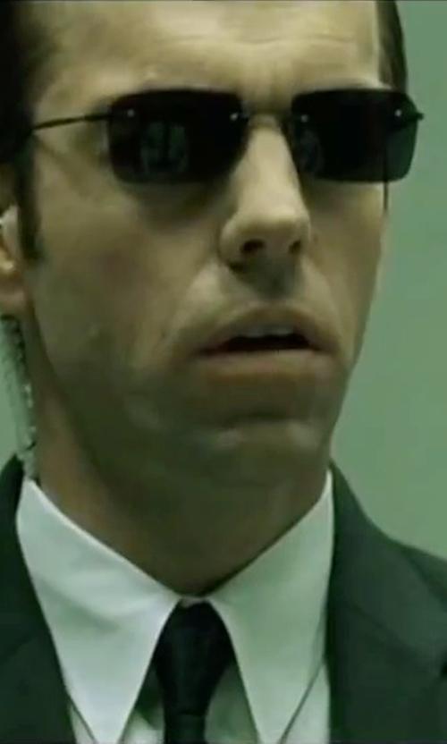 Hugo Weaving with Michael Kors Men's Width Sapphire Solid Tie in The Matrix