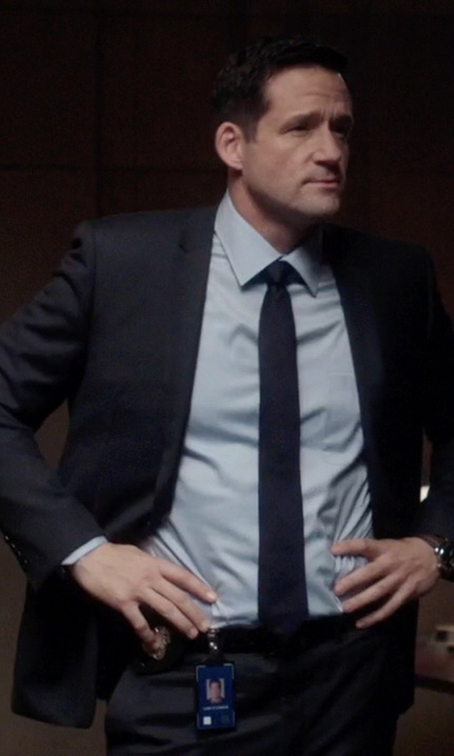 Josh Hopkins with Armani Collezioni Twill Two-Button Metro Suit in Quantico